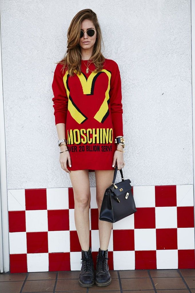Chiara Ferragni The Blonde Salad Moschino by Jeremy Scott dress Dr. Martens booties Hermes Kelly bag #streetstyle