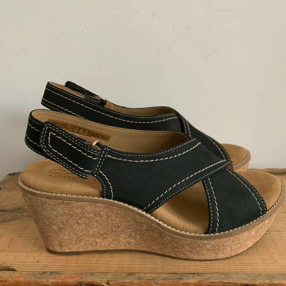 Details about Clarks wide fit UK4 Aisley Tulip wedges Black Nubuck sandals shoes comfy heels