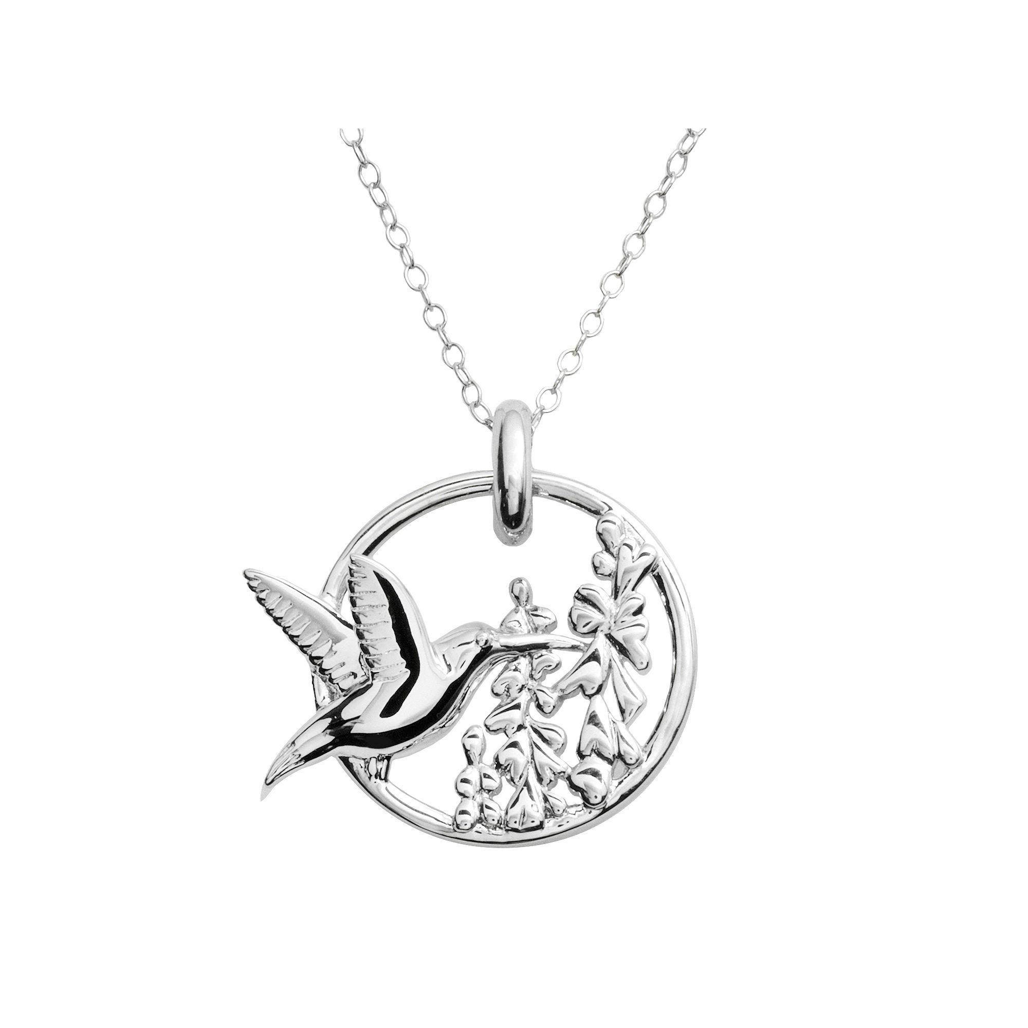 Jewelry for Trees Platinum Over Silver Hummingbird Pendant