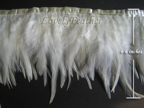 """2 Yards HACKLE FRINGE SILVERY GRAY 4-6/"""" Feathers Trim//Craft//Costume//Halloween"""