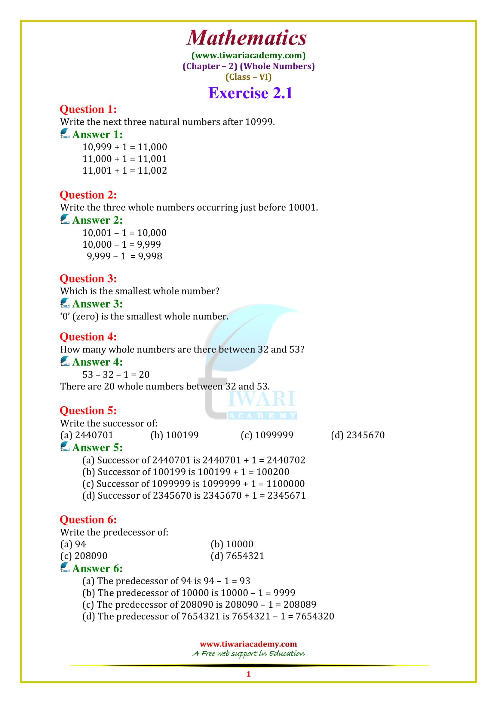 NCERT Solutions for Class 6 Maths Chapter 2 Maths ncert