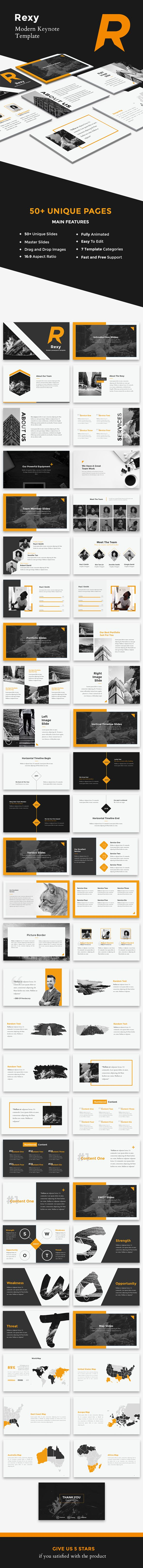rexy c modern keynote template features 50 unique creative slides
