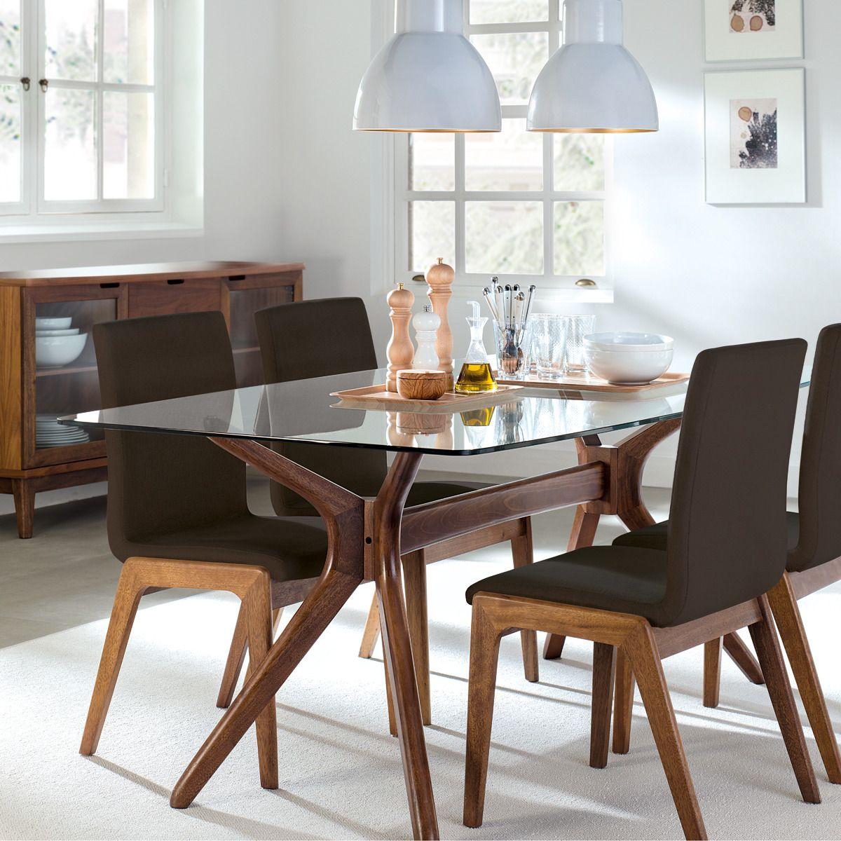 Mesa de sala de jantar de madeira e vidro Kyle | Pinterest | Mesas ...