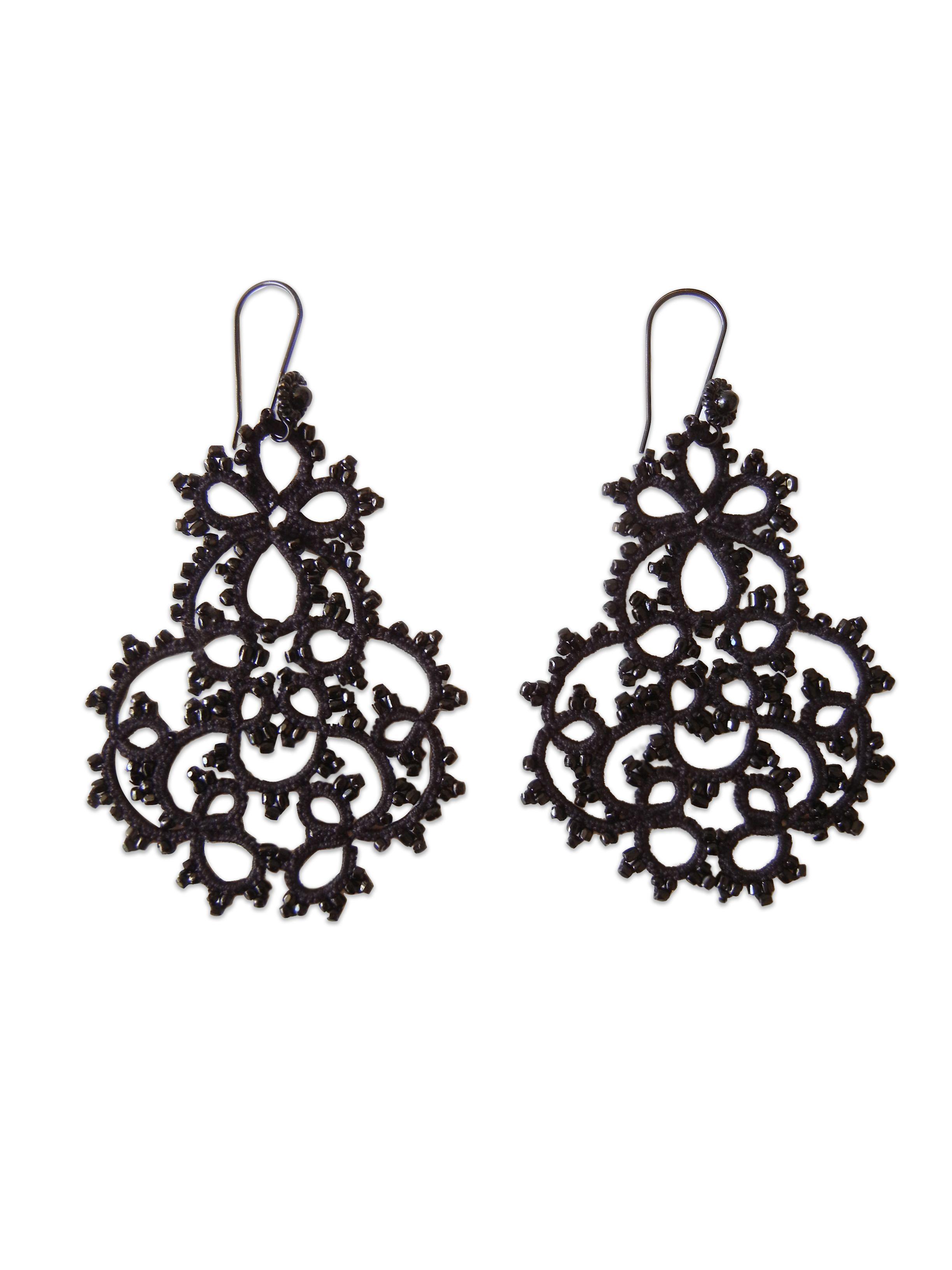 Lorina Beaded Lace Large Chandelier Earrings Black Mikimoie