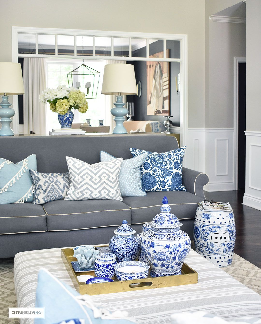 3 Ways To Style Your Coffee Table Or Ottoman Blue Living