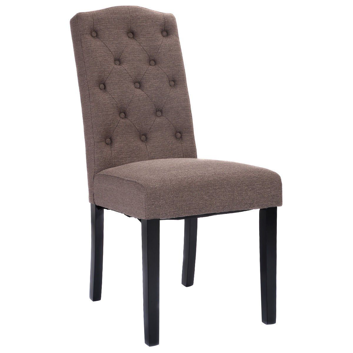 Giantex set of 2 fabric wood accent dining chair tufted