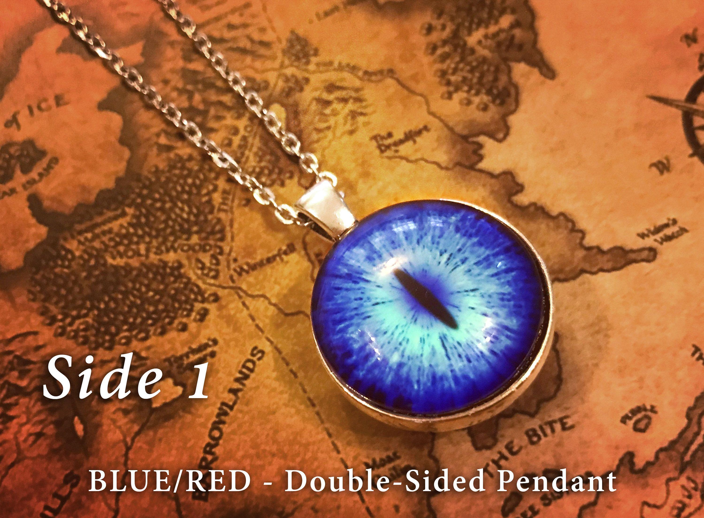 Vintage Frost Dragon Blue Eye Photo Cabochon Glass Silver Chain Pendant Necklace