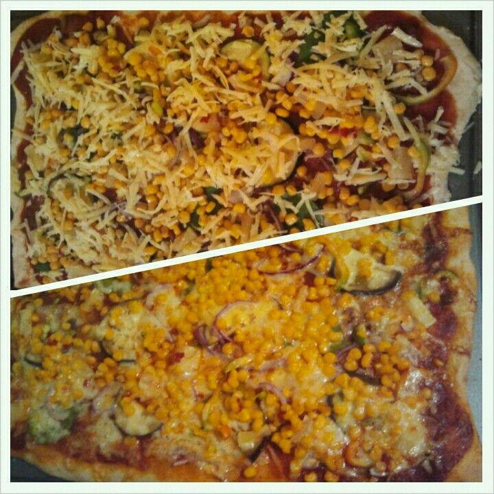 Vegetable pizza using Jamie Oliver crust recipe
