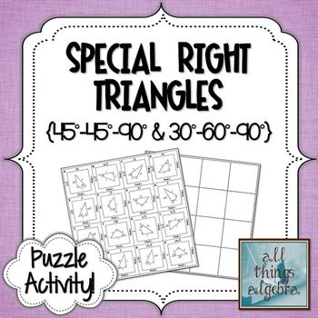 Special Right Triangles Puzzle | My TpT Store - All Things Algebra ...