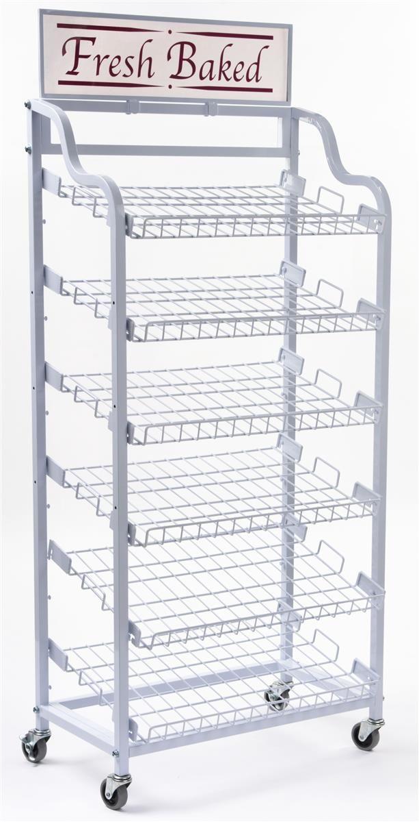 30 W Bakery Display Rack W Wheels 6 Shelves Header White