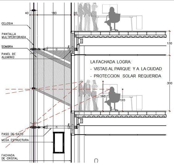 Torre bbva bancomer corte por fachada detalles tecnicos for Piso tecnico detalle
