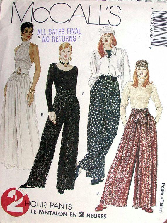 McCalls Pants Pattern No 6788 UNCUT Vintage 1990s Size Y XS S M Waist 22 to 28 Palazzo Pants Wide Leg Evening Wear 2 Hour Pants and Sash