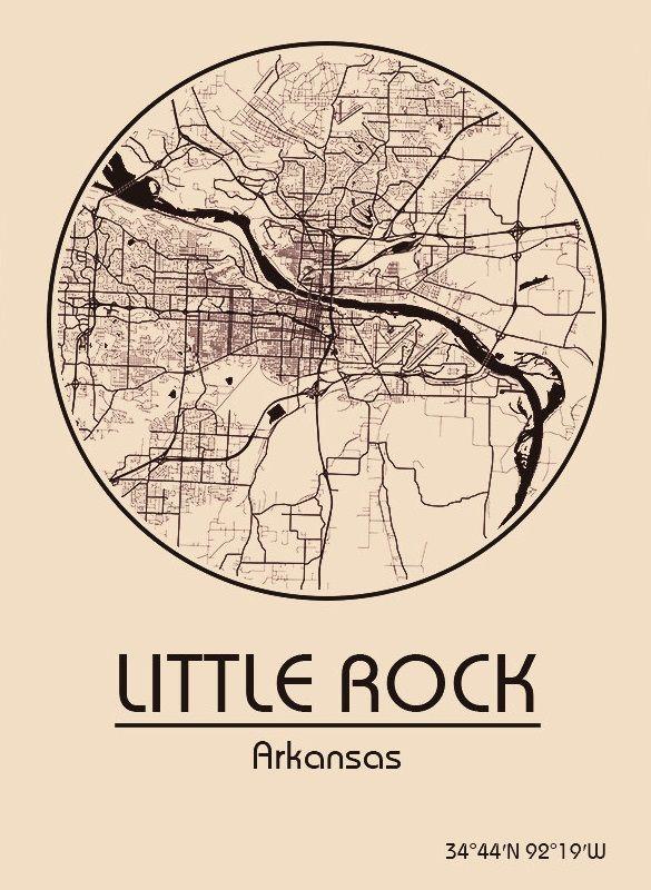 Karte / Map ~ Little Rock, Arkansas - Vereinigte Staaten von ...