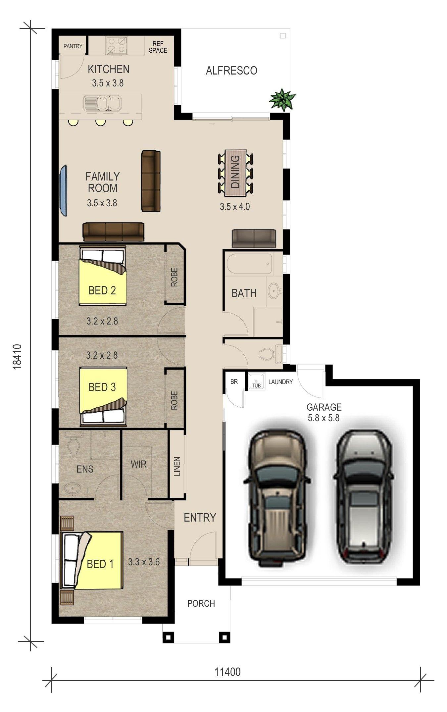 Entrancing House Plans Single Storey Double Garage