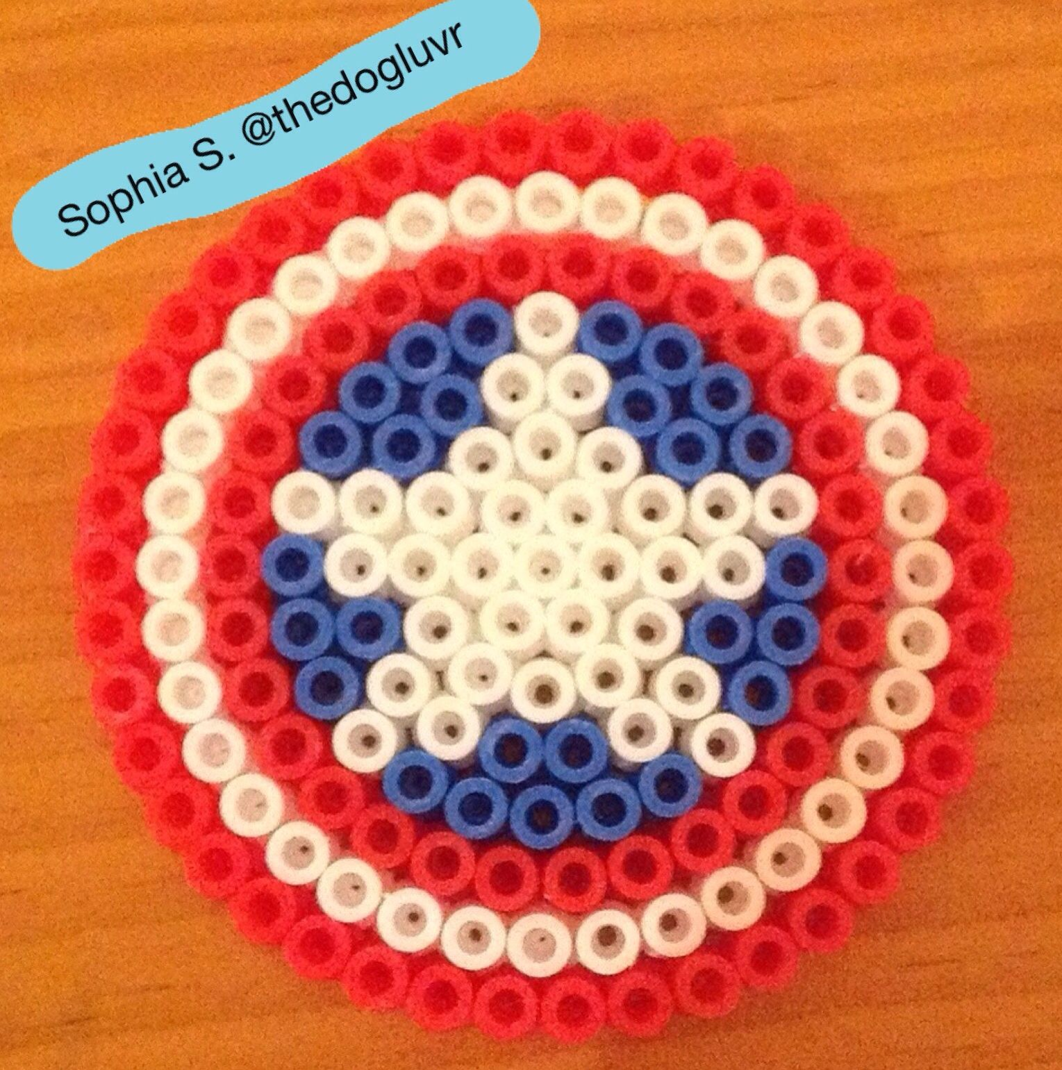 Perler Beads Captain America S Shield By Sophia S Hama Beads Patterns Perler Bead Art Perler Beads Designs