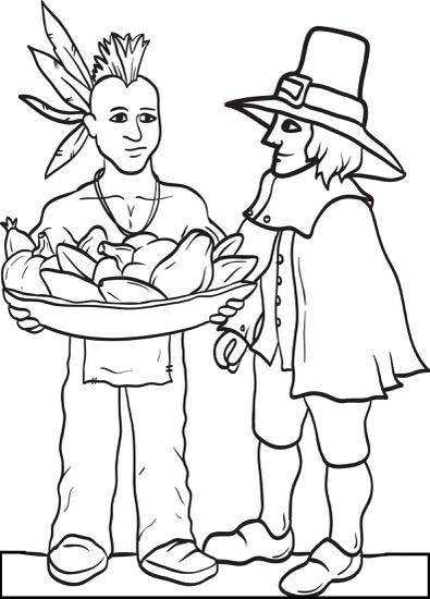 Printable Pilgrim And Indian Coloring Page For Kids Pilgrims