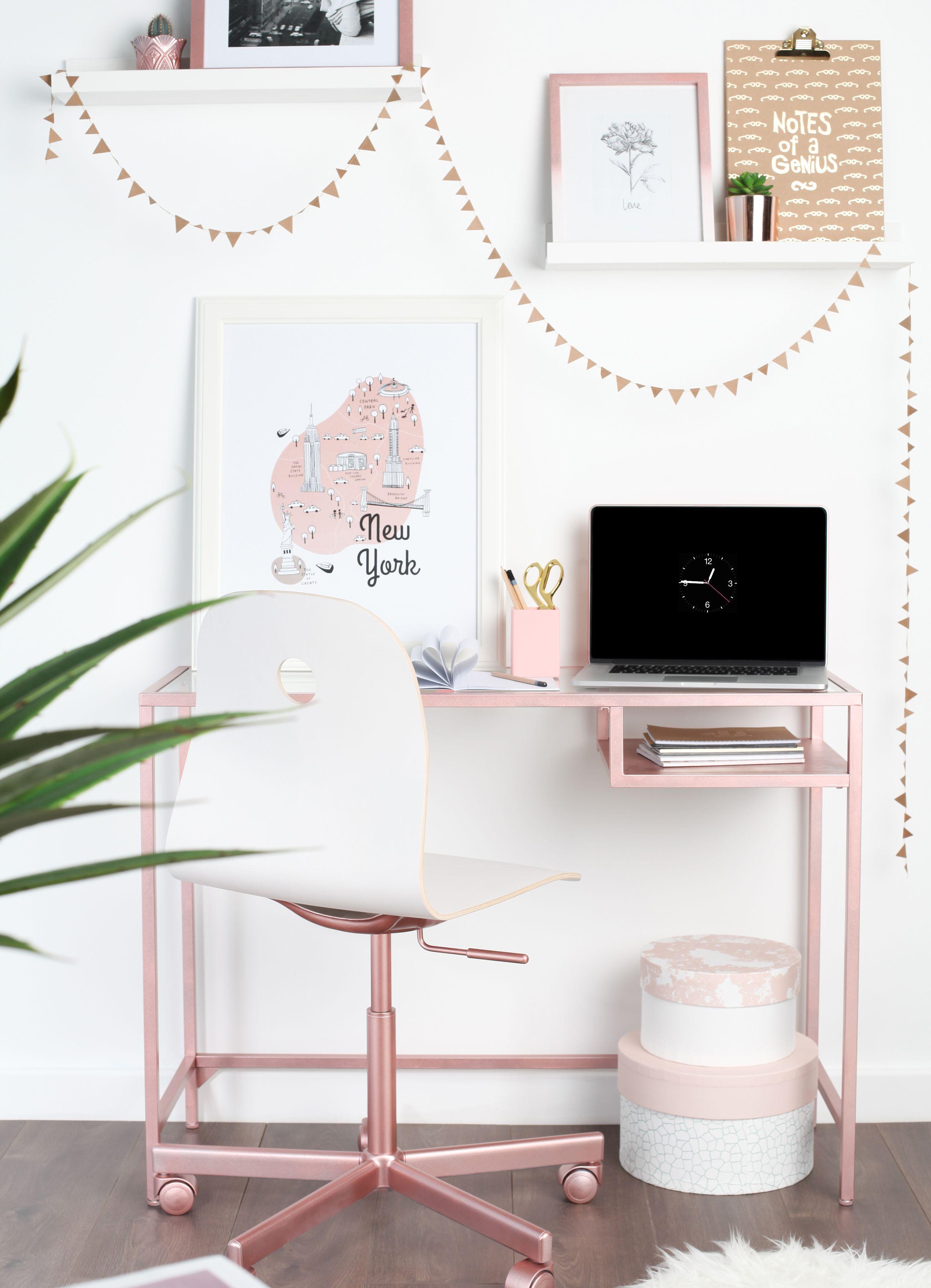 Ikea Hack  VITTSJÖ Laptop Table/ Desk Sprayed With Rose Gold Spray Paint  From Rust