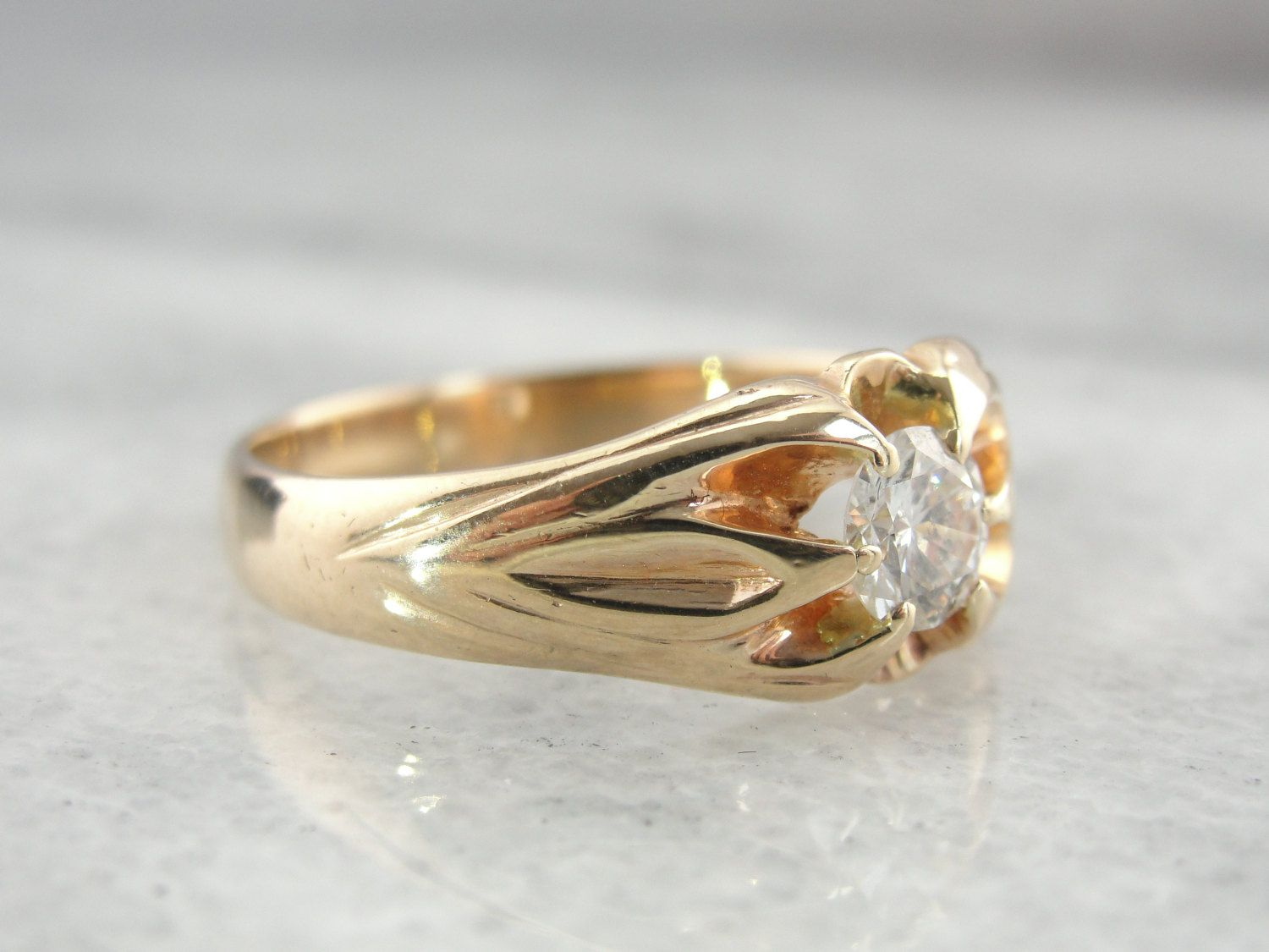 Large Diamond Ring For Man Or Woman Fine Gold Time Period: Victorian  (1850's –
