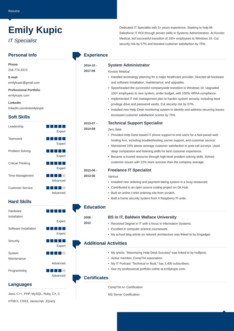 technical resume template modern in 2020  job resume