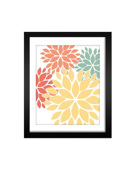 Red Coral Home Decor: Flower Wall Art Print Modern Home Decor In Yellow, Teal