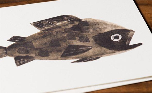 Big Fish an illustrated greeting card by #pixar artist, Chris Sasaki | Red Cap Cards #fish #swim