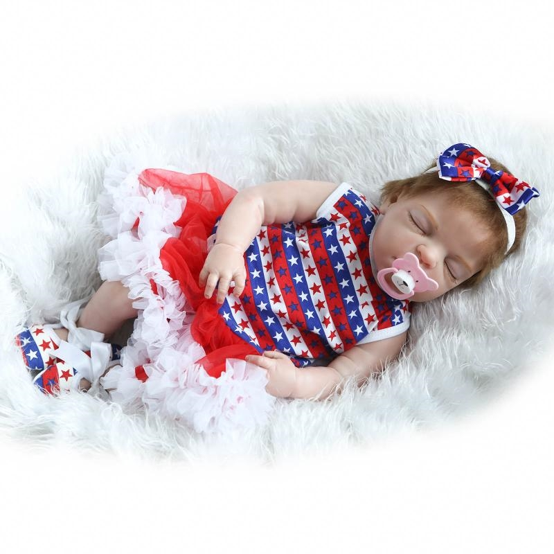 """112.62$  Watch here - http://alixf0.worldwells.pw/go.php?t=32749609555 - """"[SGDOLL] 22"""""""" Lifelike Sleeping Girl Reborn Dolls Full Body Soft Touch Vinyl Handmade Baby Toy with Pacifier Color Dress 16062446"""" 112.62$"""