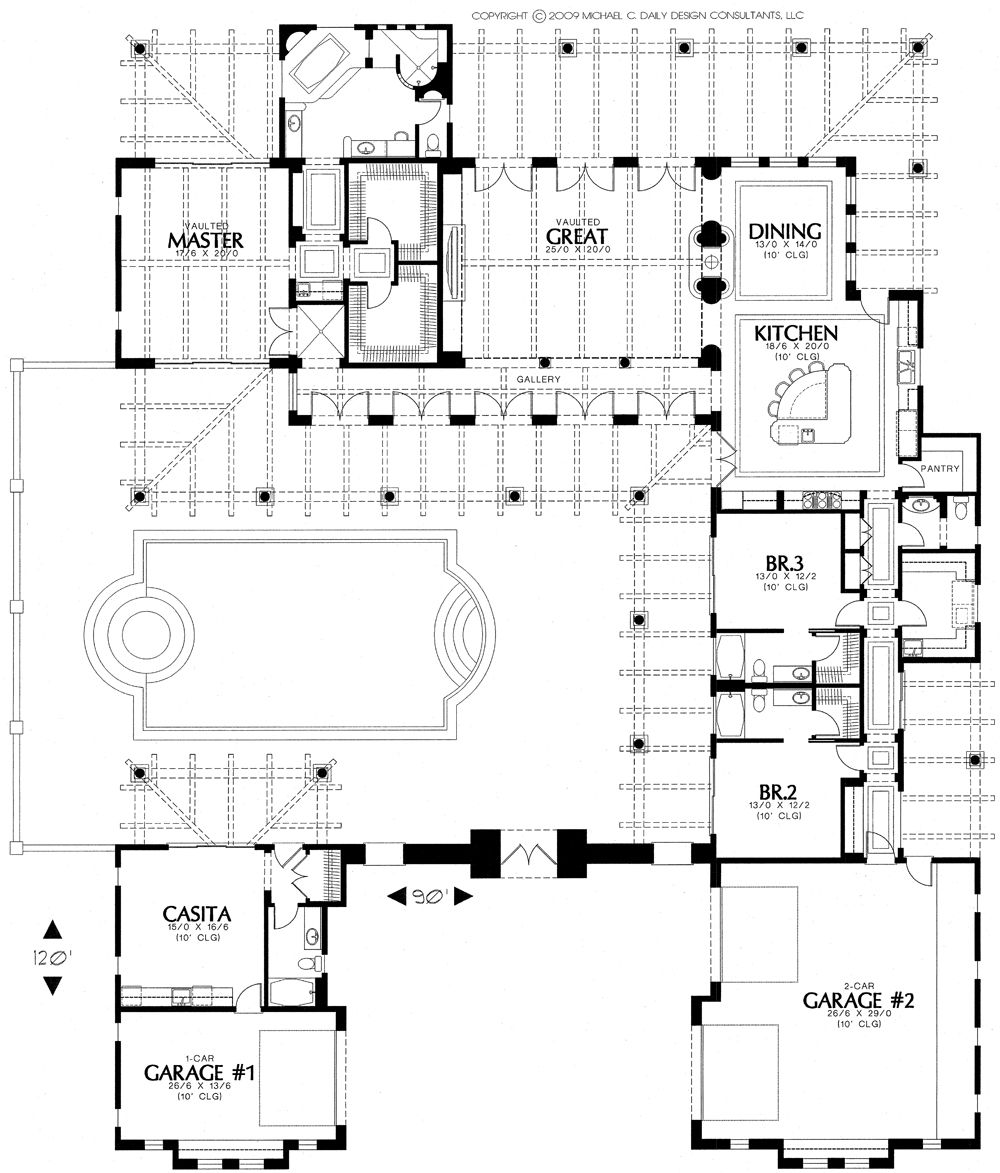 CourtyardHouseplan Fe style home plans at House Plans and More