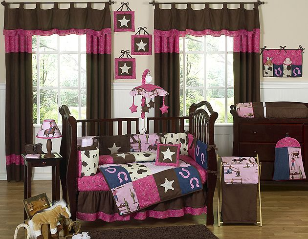 pink and brown designer horse western themed cowgirl baby girl crib