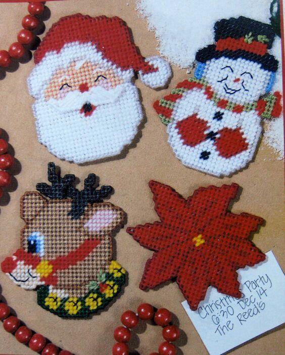 Dimensions Cross Stith Kit Plastic Canvas Ornament Santa Snowman Bear Train