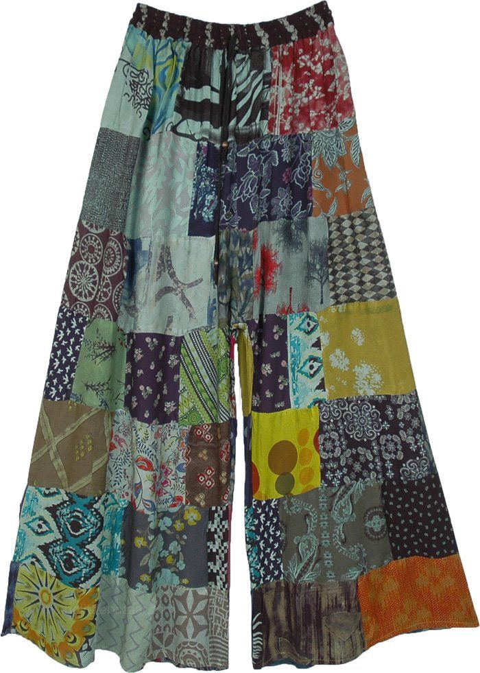 Wide Leg Hippie Green Patchwork Pants in Rayon