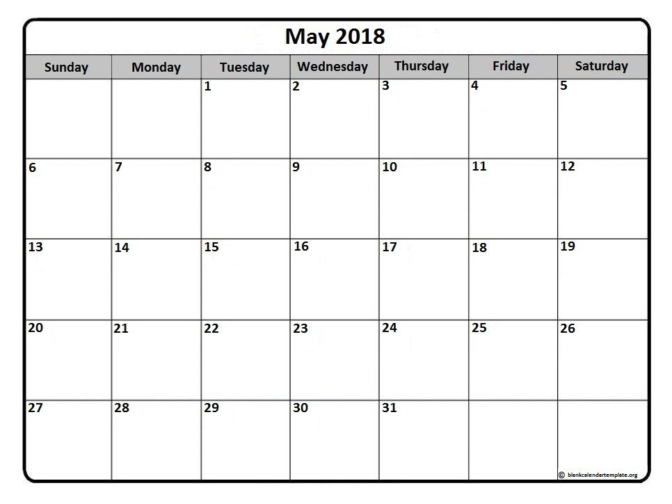 May 2018 monthly calendar printable | Printable calendars ...