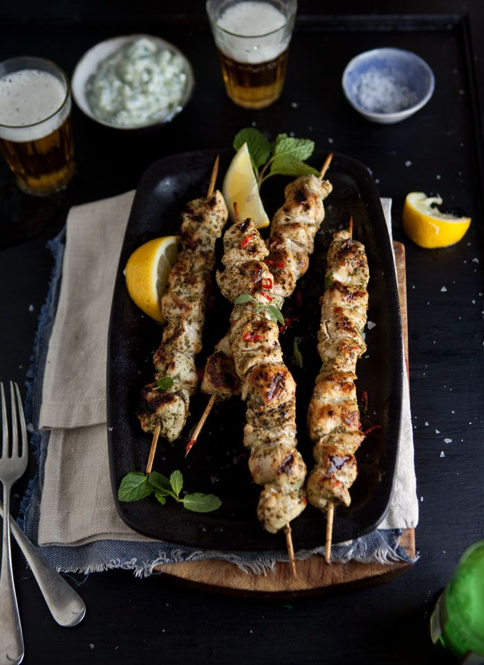 Grilled Chicken Kebabs with Lemon Chili and Mint and Homemade Tzatziki