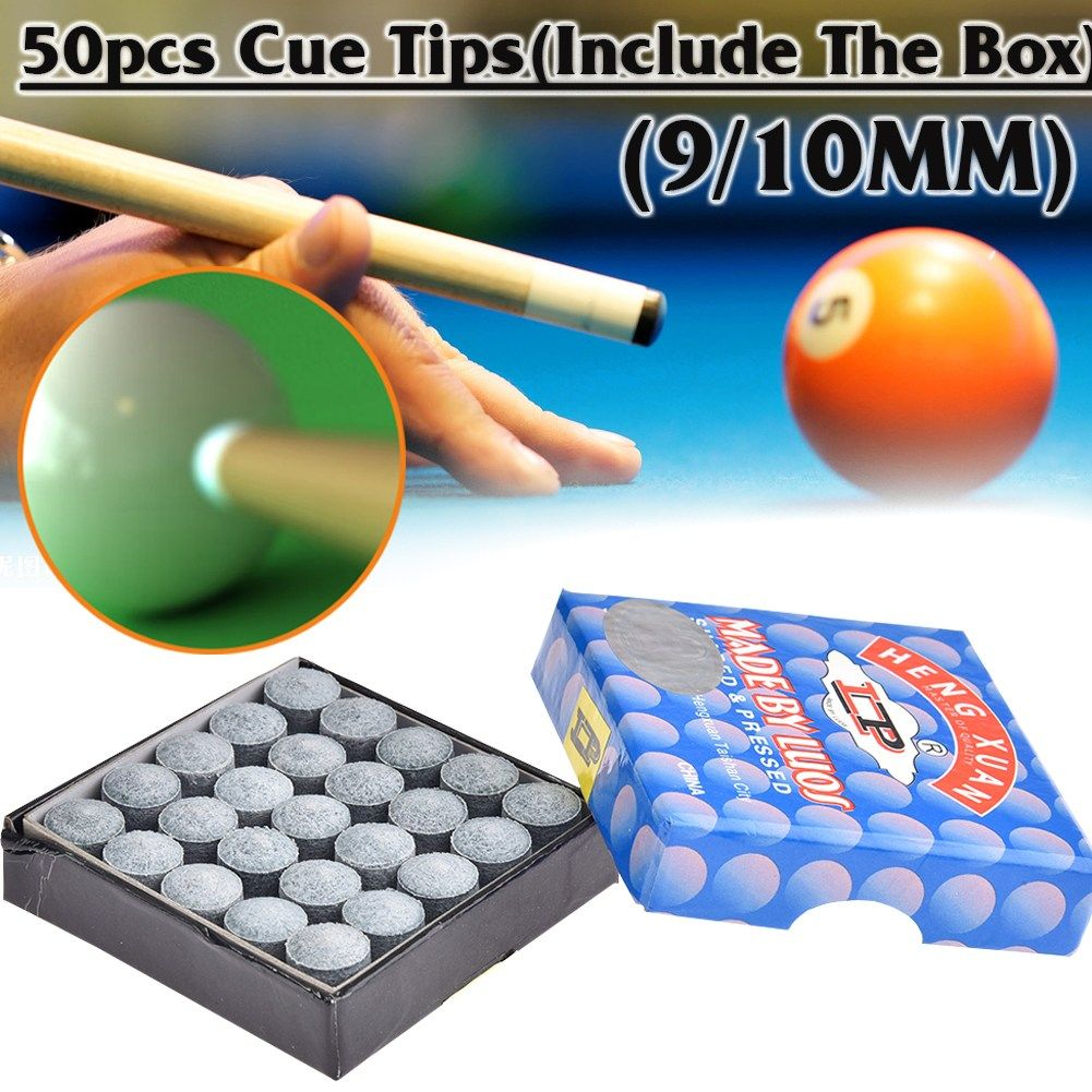 Quick Pool Zubehör Box Of 50pcs Glue On Pool Billiards Snooker Cue Tips 9mm 10mm