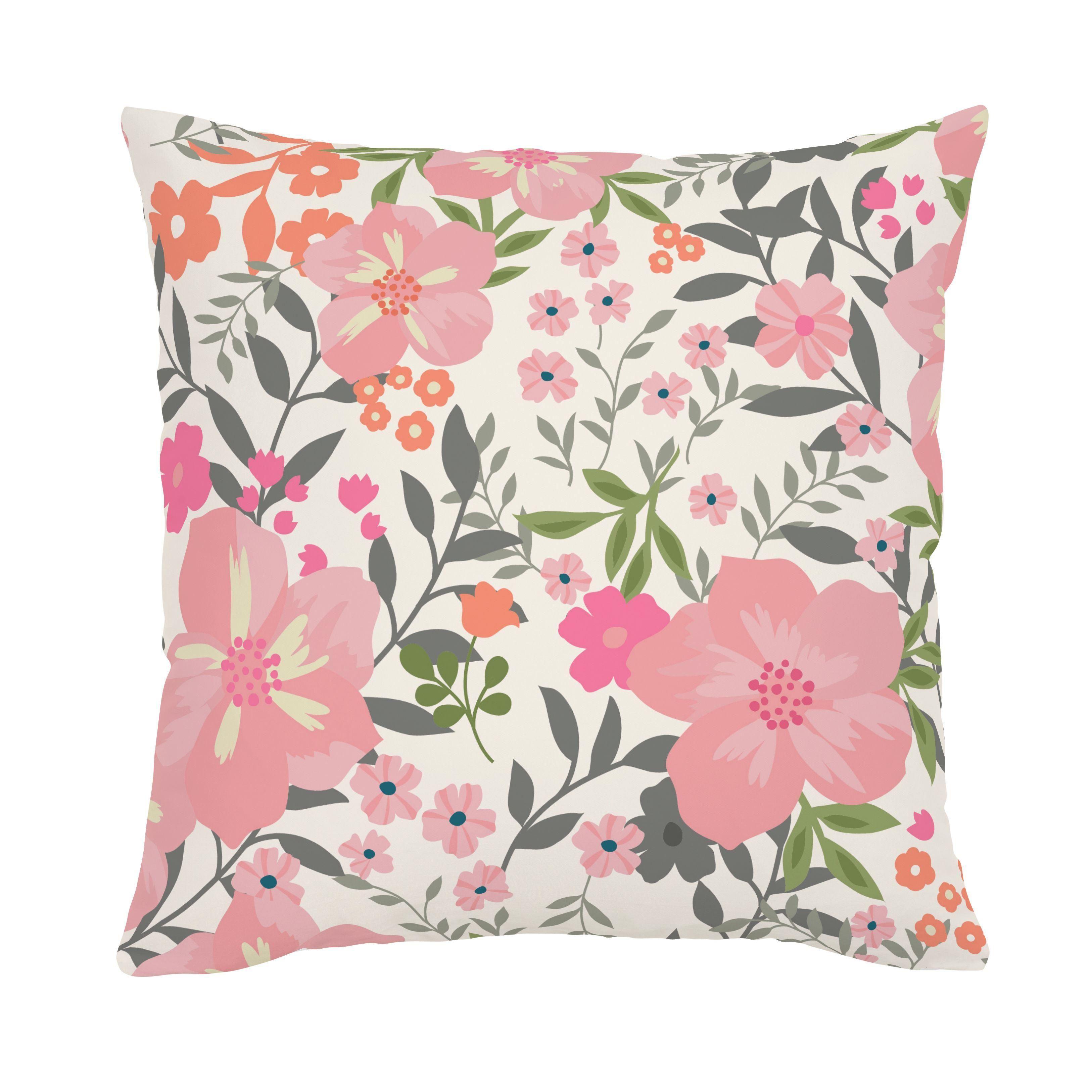 Pink and orange floral tropic throw pillow throw pillows and pillows