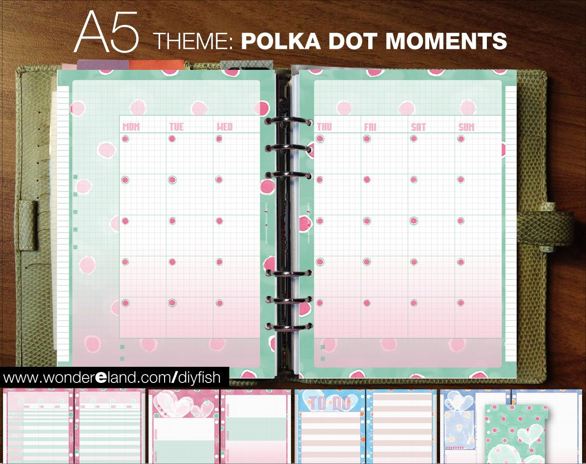 A5 Inserts Undated Polka Dot Moments Theme