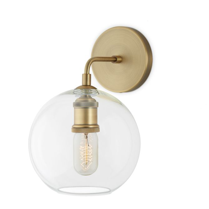 Alton Wall Sconce With Clear Globe Aged Brass Modern Lighting Design Bathroom