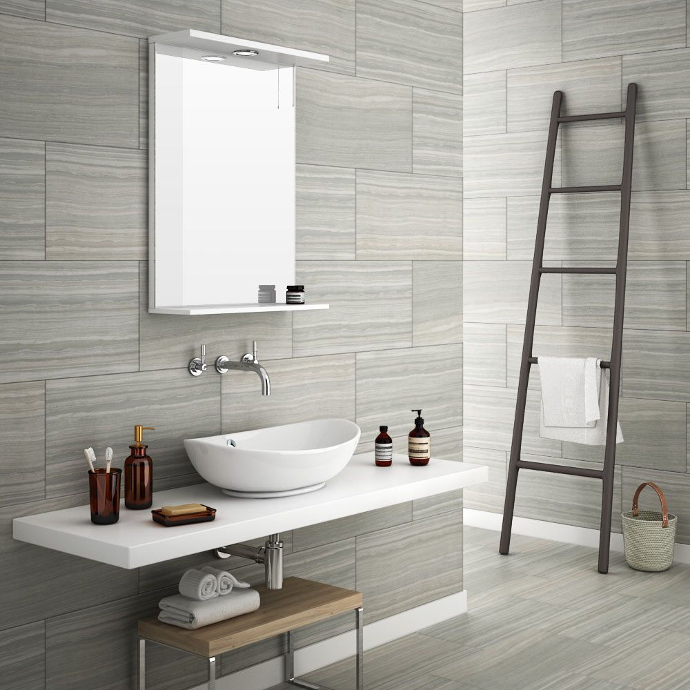Monza Grey Wood Effect Tile - Wall and Floor - 600 x 300mm ...