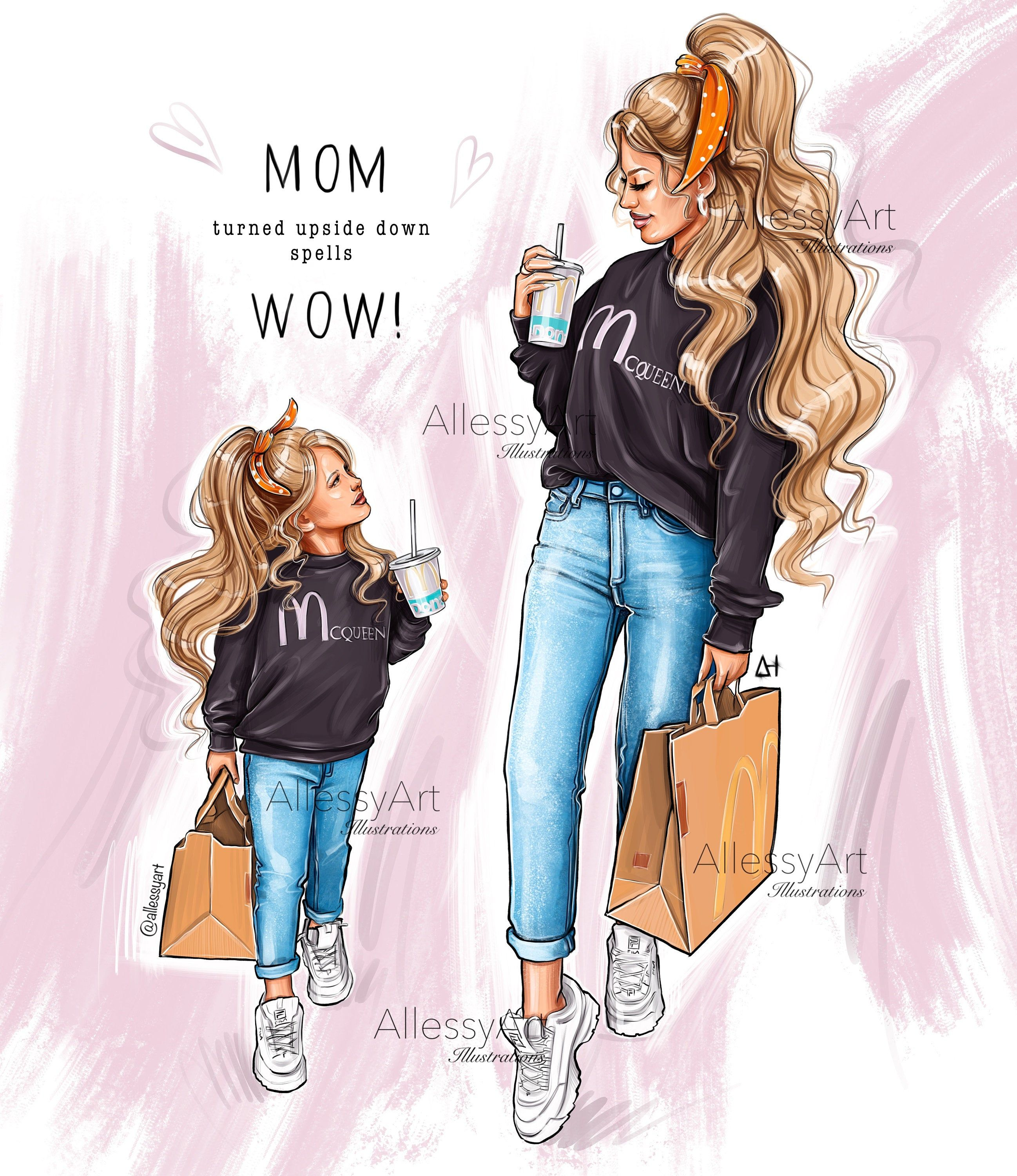 Photo of Mother and daughter clipart, instant download fashion illustration art,Mom turned upside down spells wow clipart Mother's Day printable