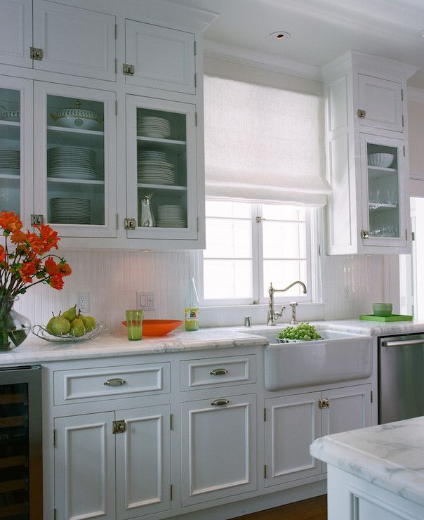 Kitchen Upper Cabinet Plans: Cottage Kitchen Features Stacked Upper Cabinets And Inset