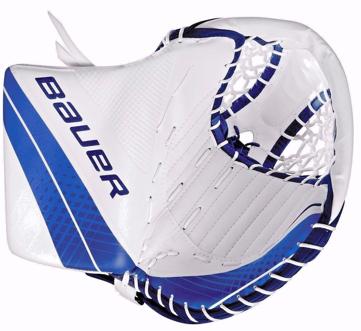 Gloves And Blockers 79763 New Bauer Vapor X900 Goalie Trapper Left Hand Intermediate White Blue Glove Buy It Now Only Blue Gloves Goalie Goalie Stick