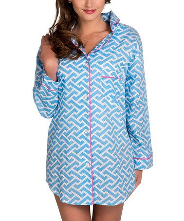 This Blue & White Molly Organic Sleep Shirt - Women is perfect! #zulilyfinds