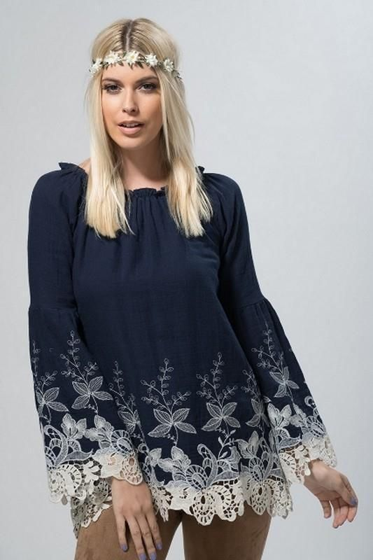 31 Best Bohemian Interior Design Ideas: Navy Cotton Peasant Embroidered Lace Bell Sleeves Tunic