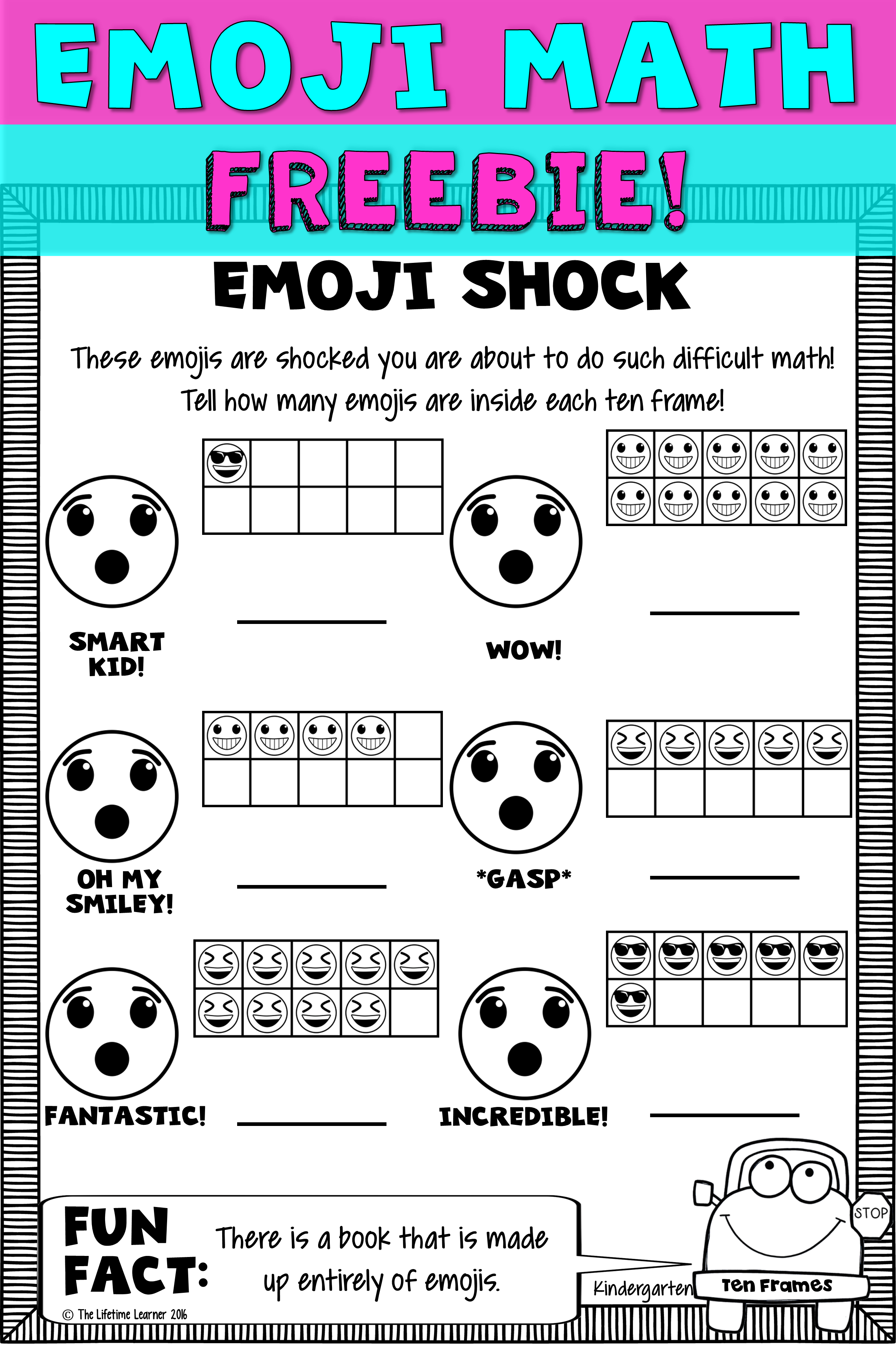 Kindergarten math is more fun with emojis! This freebie has 1 free ...
