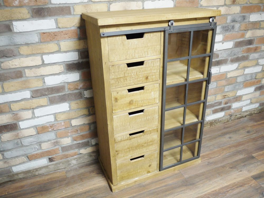Details About Industrial Style Display Tall Cabinet