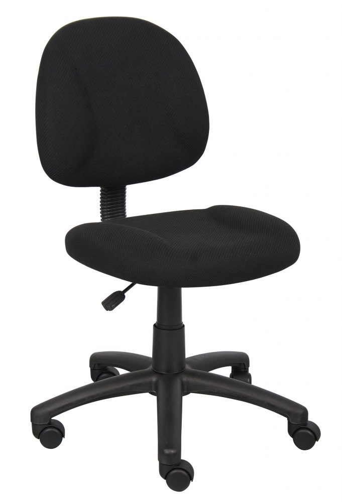 boss fabric deluxe posture chair black thick padded seat and back