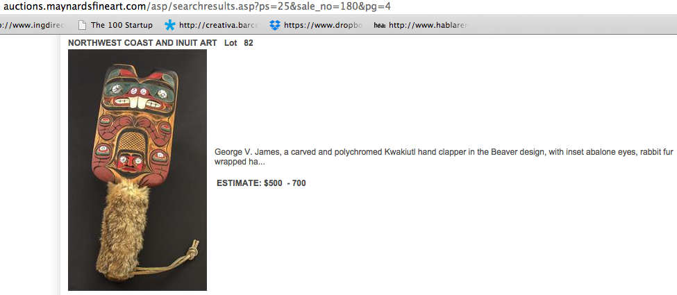 GEORGE V. JAMES hand clapper for sale http://auctions.maynardsfineart.com/asp/searchresults.asp?ps=25&sale_no=180&pg=4