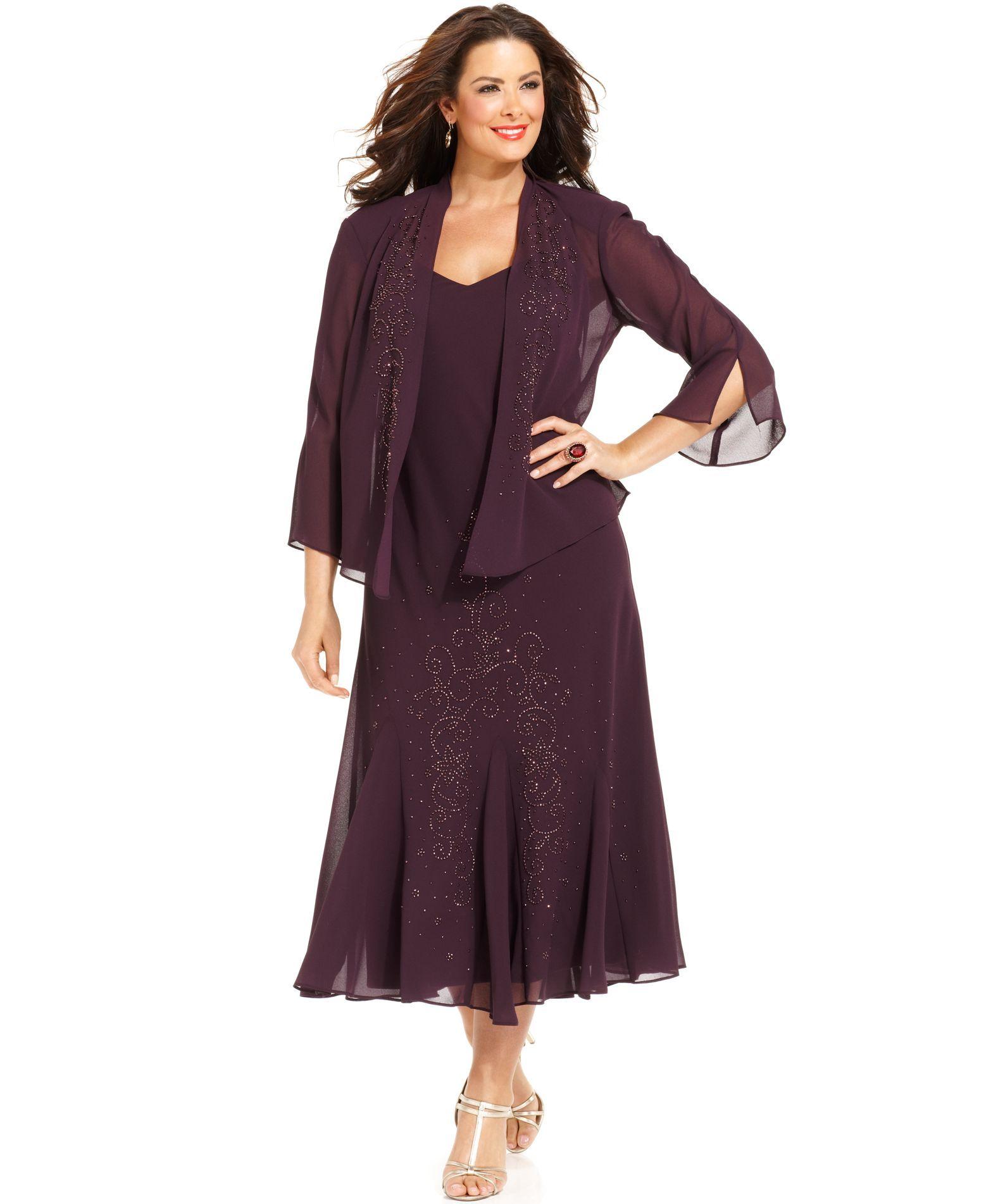 6813493fe0b07 R M Richards Plus Size Beaded V-Neck Dress and Jacket
