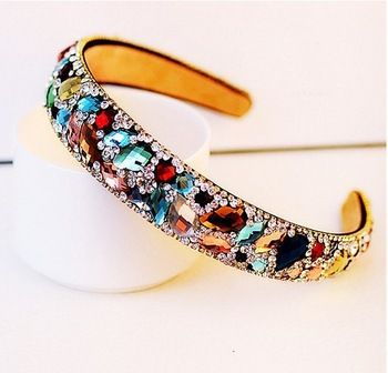 Free Shipping 2015 New Korean Hair Accessories Luxury Colorful Crystal Hairbands Rhinestone Headbands For Women Hair Jewelry #kidshairaccessories