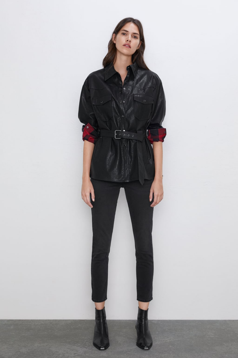 Faux leather overshirt in 2020 Jackets for women