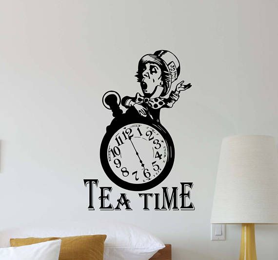 Tea time mad hatter wall decal alice in wonderland clock kitchen vinyl sticker home bedroom decor nursery poster art mural custom print 452
